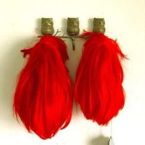 Bright Red Short Wigs with Bangs